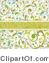 Vector of Green Copyspace Bar over Floral Vines Pattern and off White Background by OnFocusMedia
