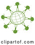 Vector of Green Grid Globe with Happy Stick People by Graphics RF