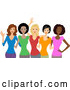 Vector of Group of Happy Diverse Women Wearing Colorful T Shirts by BNP Design Studio
