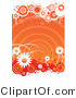 Vector of Grungy Orange Retro Styled Floral Background with White Daisies and Circles by Vector Tradition SM