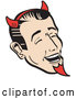 Vector of Guy Wearing Red Horns and a Red Goatee, Laughing Devilishly on Halloween by Andy Nortnik