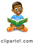 Vector of Happy Black Boy Sitting on the Floor and Reading a Book by AtStockIllustration