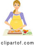 Vector of Happy Blond Pregnant Woman Chopping Veggies by BNP Design Studio
