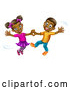 Vector of Happy Cartoon Black Boy and Girl Dancing by AtStockIllustration
