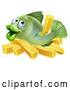 Vector of Happy Cartoon Fish with Chips French Fries by AtStockIllustration