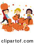 Vector of Happy Cartoon Kids Playing with Pumpkins with Autumn Leafs by BNP Design Studio