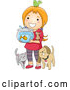 Vector of Happy Cartoon Red Haired Girl with Her Pets by BNP Design Studio
