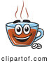 Vector of Happy Cartoon Tea Cup Character with Sugar Cubes by Vector Tradition SM