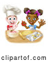 Vector of Happy Cartoon White Boy Making Frosting and Black Girl Making Cookies by AtStockIllustration