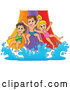 Vector of Happy CartoonKChildren Going down a Water Park Slide by Visekart