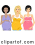 Vector of Happy Pregnant Black White and Asian Women Posing Together by BNP Design Studio