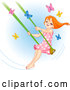 Vector of Happy Red Haired Girl Swinging past Butterflies by Pushkin