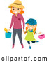 Vector of Happy Red Haired White Mother Holding Hands and Carrying Gardening Tools with Her Daughter by BNP Design Studio