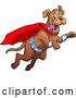 Vector of Happy Super Dog Flying to the Rescue by Clip Art Mascots