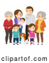 Vector of Happy White Family with Grandparents and a Dog by BNP Design Studio
