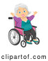 Vector of Happy White Senior Woman Cheering in a Wheelchair by BNP Design Studio