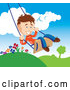 Vector of Happy Young Boy Swinging Outdoors on a Summer Day by TA Images