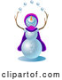 Vector of Jolly Snowman Wearing a Purple and Pink Cape and Hat, Looking Upwards and Juggling Snowballs by Tonis Pan