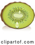 Vector of Juicy Halved Fuzzy Green Kiwi Fruit with Juice Droplets by Vitmary Rodriguez
