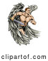 Vector of Muscular Cartoon Warrior Angel Running with a Sword by AtStockIllustration