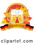 Vector of Oktoberfest Beer Mugs and Autumn Leaves with Wheat over a German Banner by Pushkin