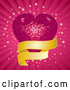 Vector of Pink Mosaic Disco Heart with a Golden Banner over Rays and Bursts by Elaineitalia