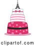 Vector of Pink Parisian Cake with an Eiffel Tower Topper by BNP Design Studio