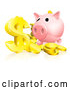 Vector of Pink Piggy Bank and Abundance of Gold Coins and Dollar Symbol by AtStockIllustration