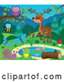 Vector of Pond with Wild Animals and Insects by Visekart