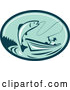 Vector of Retro Fly Fisherman Reeling in a Trout or Salmon Fish from a Boat in a Teal and Green Oval by Patrimonio