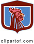 Vector of Retro Woodcut Rooster in a Blue Maroon and White Shield by Patrimonio