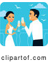 Vector of Romantic Bride and Groom Toasting with Champagne on Their Honeymoon by Monica