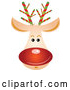 Vector of Rudolph Reindeer Face with a Shiny Red Nose by OnFocusMedia