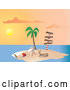 Vector of Santa Claus Vacationing and Relaxing on a Lounge Chair Beside Rudolph Under a Palm Tree on a Tropical Island at Sunset by Rasmussen Images