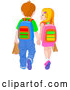 Vector of School Boy and Girl Holding Hands and Walking by Pushkin