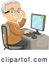 Vector of Senior White Guy Adjusting His Glasses and Using a Desktop Computer by BNP Design Studio