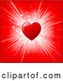 Vector of Shiny Red Heart over a Red Background with a Bright White Burst of Light and Stars by KJ Pargeter