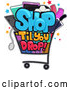Vector of Shop till You Drop Design with a Cart Full of Items by BNP Design Studio