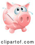 Vector of Sick Piggy Bank with a Fever and Bursting Thermometer by AtStockIllustration