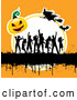 Vector of Silhouetted Dancers with Gurnge a Halloween Pumpkin and Witches on Orange by KJ Pargeter