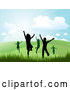 Vector of Silhouetted Happy Children Running and Jumping in a Hilly Summer or Spring Landscape by KJ Pargeter