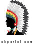 Vector of Silhouetted Native American Indian Guy in a Feather Headdress and in Profile by BNP Design Studio