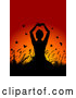 Vector of Silhouetted Yoga Lady with Plants and Butterflies Against a Sunset by KJ Pargeter