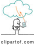 Vector of Sketched Stick Businessman Using a Tablet on the Cloud by NL Shop