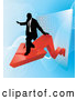 Vector of Successful Business Man Riding on a Red Arrow As Revenue Increases by AtStockIllustration