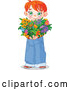 Vector of Sweet Red Haired White Boy Holding a Heart Shaped Flower Bouquet for Valentines or Mothers Day by Pushkin