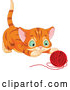 Vector of Tabby Ginger Kitten About to Pounce on a Ball of Yarn by Pushkin