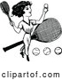 Vector of Vintage Black and White Lady Playing Tennis by Prawny Vintage