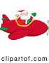 Vector of Waving Santa Claus Piloting Plane by Hit Toon