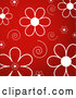 Vector of White Daisy Flowers and Swirls over a Red Background by KJ Pargeter